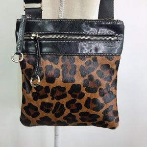 Aqua Madonna Leopard Print Calf Hair Cross Body